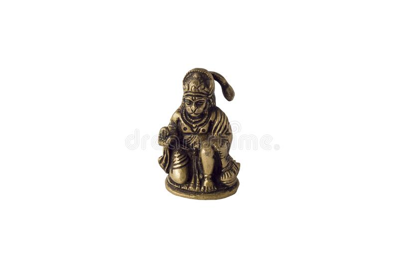 Yellow copper statue of indian deity Hanuman isolated on white background royalty free stock images