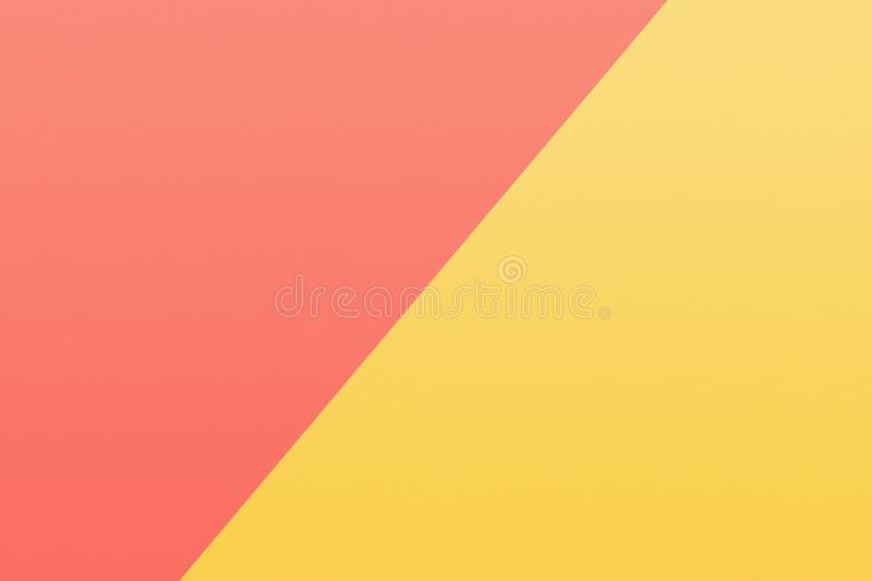 Yellow and coral piece of paper in pastel colors. A yellow and coral piece of paper in pastel colors stock images