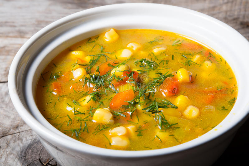 Yellow corn soup stock photos