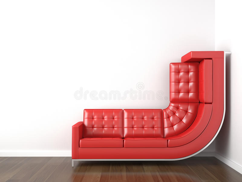 Yellow couch bended to climb up. Interior design with a bended yellow couch in a corner white room climbing up the wall with plenty copy space vector illustration