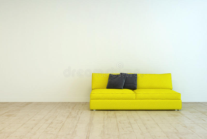 Download Yellow Couch Furniture On An Empty Living Room Stock Illustration