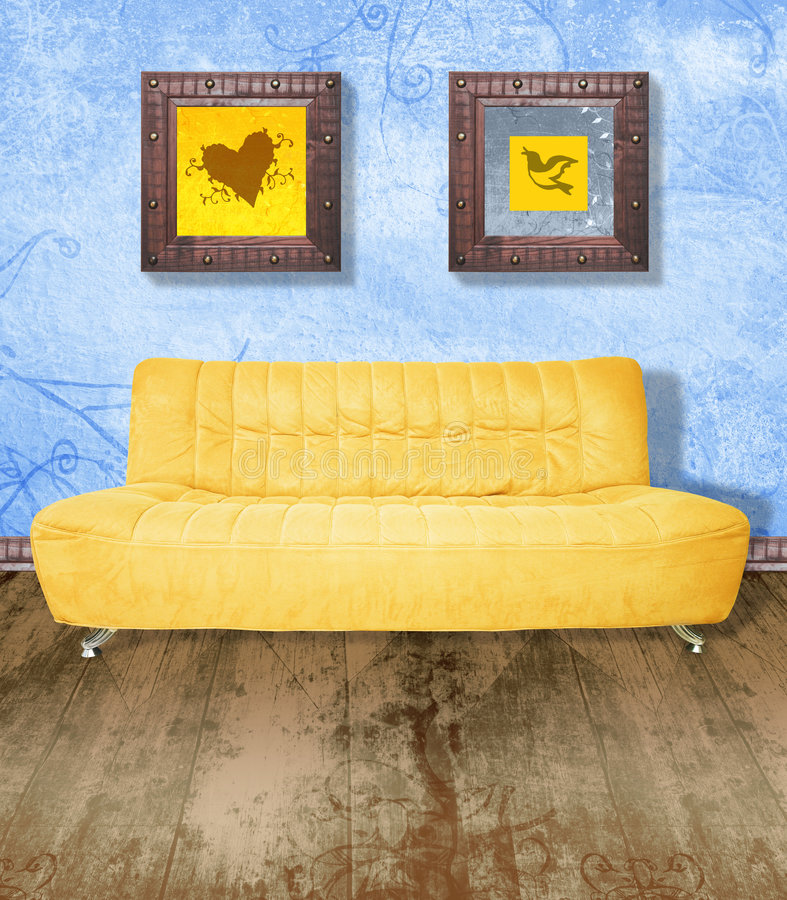 Yellow couch on grunge blue stock illustration