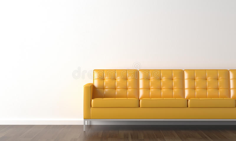 Yellow couch on white wall. Interior design of yellow couch on a white wall with copy space on the left royalty free illustration