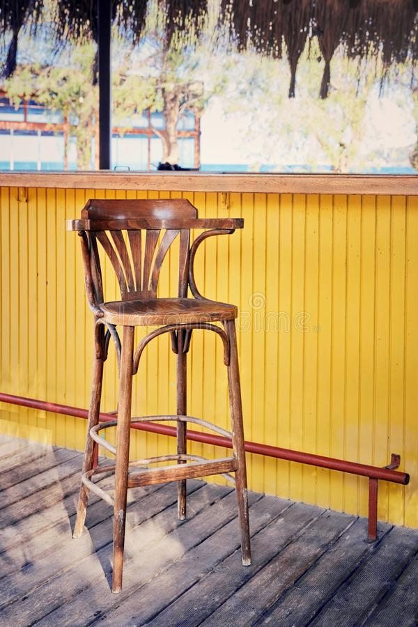 Wooden bar chair stock image
