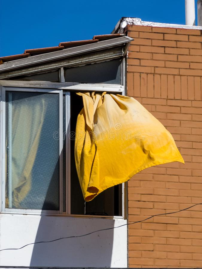 Yellow courtain in the wind. Objects and abstract photography royalty free stock photography