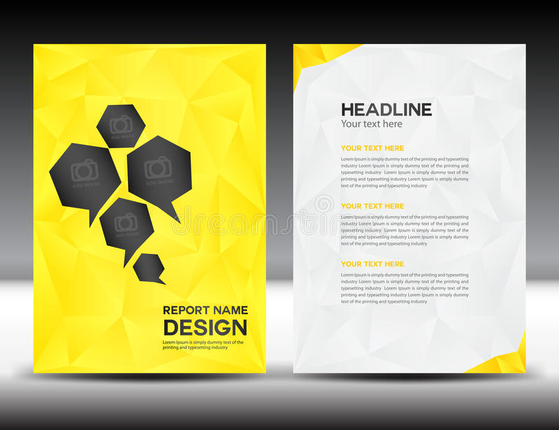 Yellow Cover Annual Report Templatepolygon Backgroundbrochure
