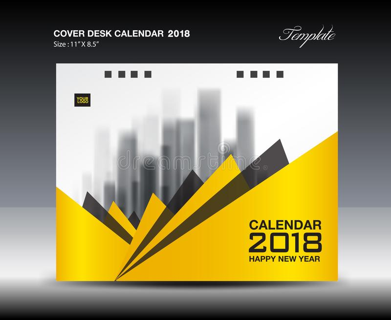 Yellow Cover Desk Calendar  Design Flyer Template Ads Stock