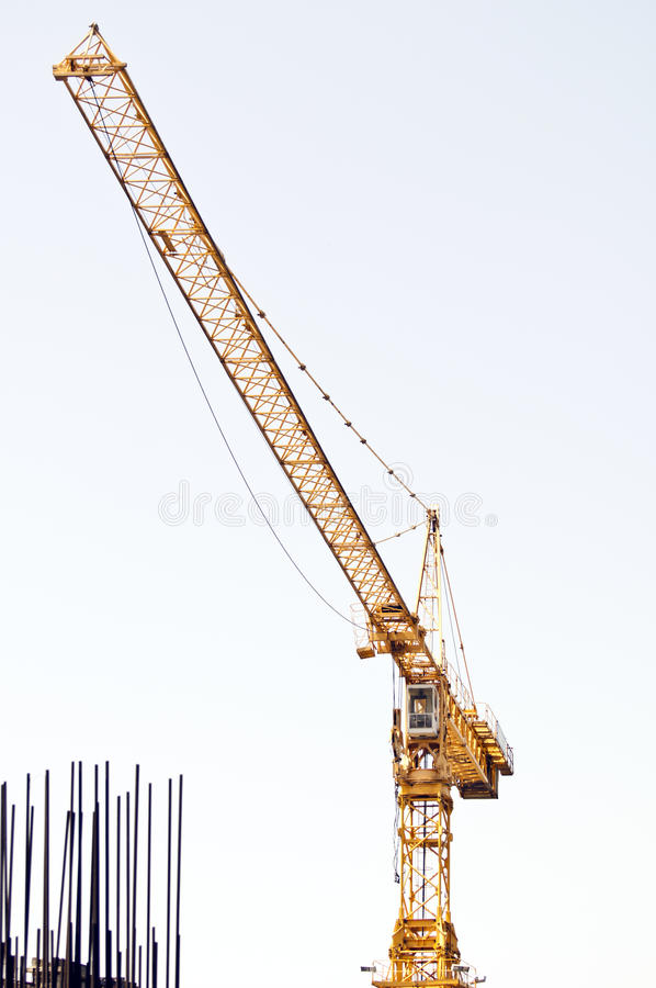 Download Yellow crane and armature stock photo. Image of cable - 20562546