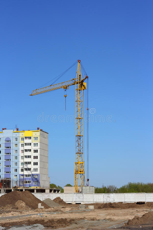 Yellow Crane  On Building Site Stock Photography
