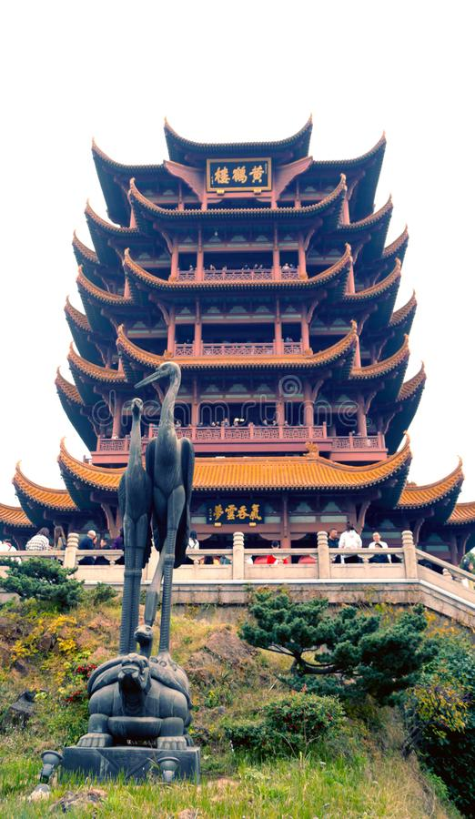 Yellow Crane Tower in Wuhan China. Ancent temple tower in the hearth of wuhan china. province of Hubei, old building in traditional chinese architecture, Huang royalty free stock photography