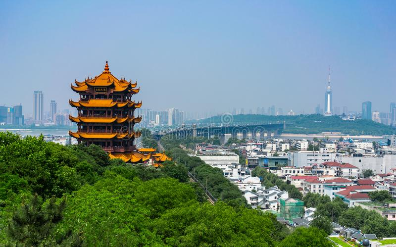 Yellow crane tower and Wuhan Yangtze Great Bridge scenic view in. Wuhan Hubei China stock photos