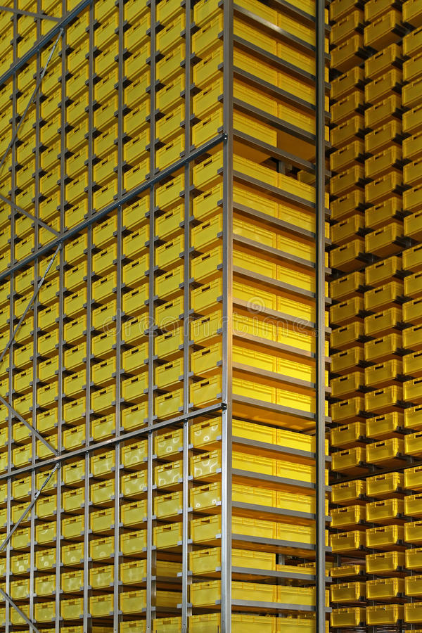 Download Yellow crates tower stock image. Image of storehouse - 26336019