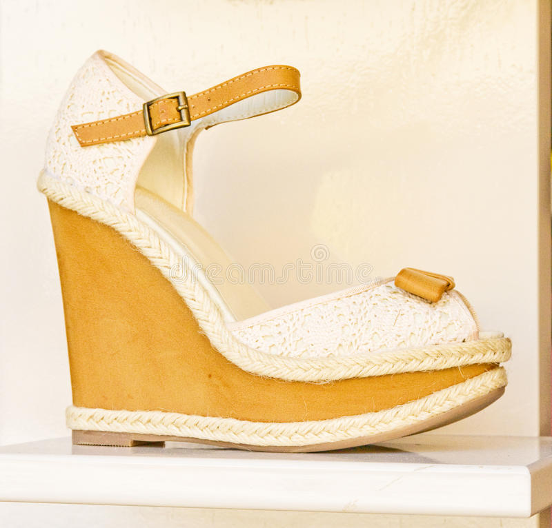 Download Yellow and cream sandal. stock photo. Image of upper - 19633014