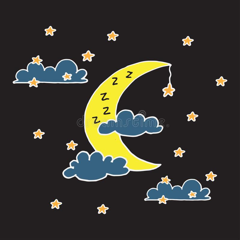 Free Yellow Crescent Moon With Blue Clouds With Orange Stars. Night View Background. Bed Time. Time For Sleep. Hand Drawn. White Outlin Stock Photo - 215480410