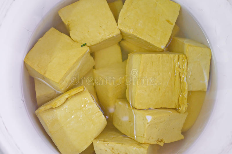 Yellow cube tofu royalty free stock image