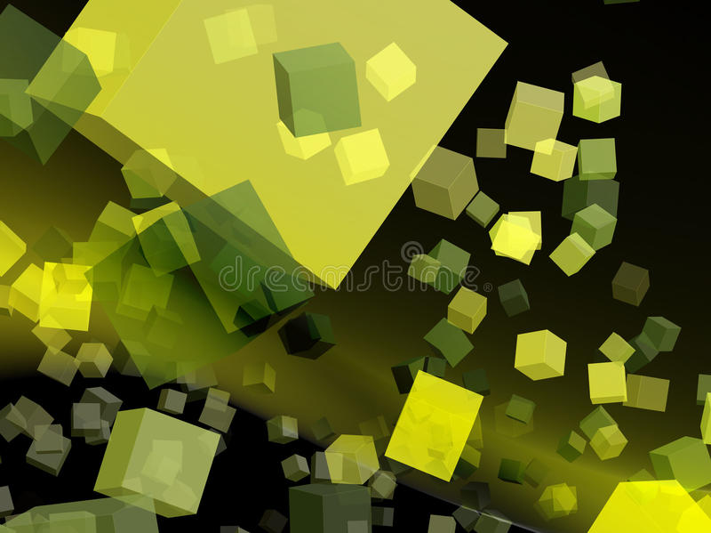 Yellow cubes for webdesign. 3D yellow cubes for background and webdesign royalty free illustration