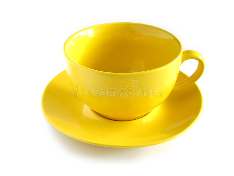 Yellow cup. Empty yellow cup isolated on white background