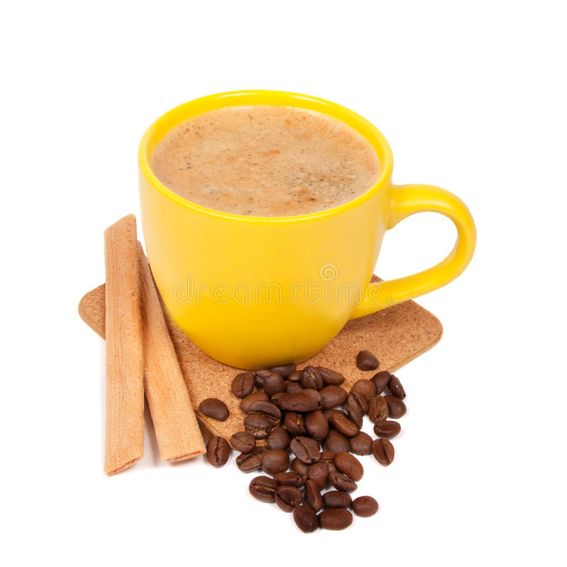 Yellow cup of coffe stock images