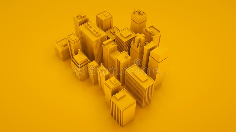 Yellow 3d isometric city landscape with skyscrapers. 3d illustration royalty free illustration