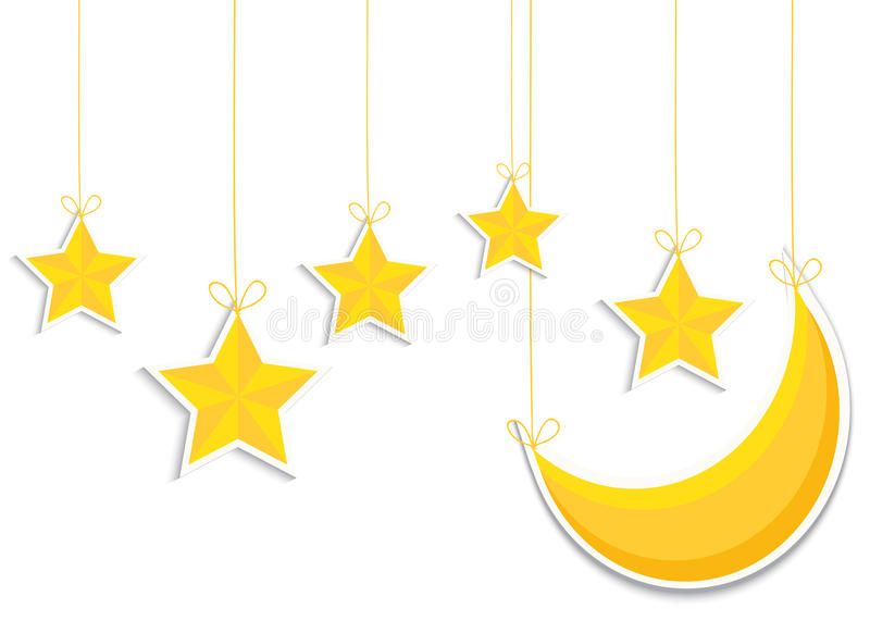 Yellow 3d star and moon isolated in white background. Vector EPS10 royalty free illustration