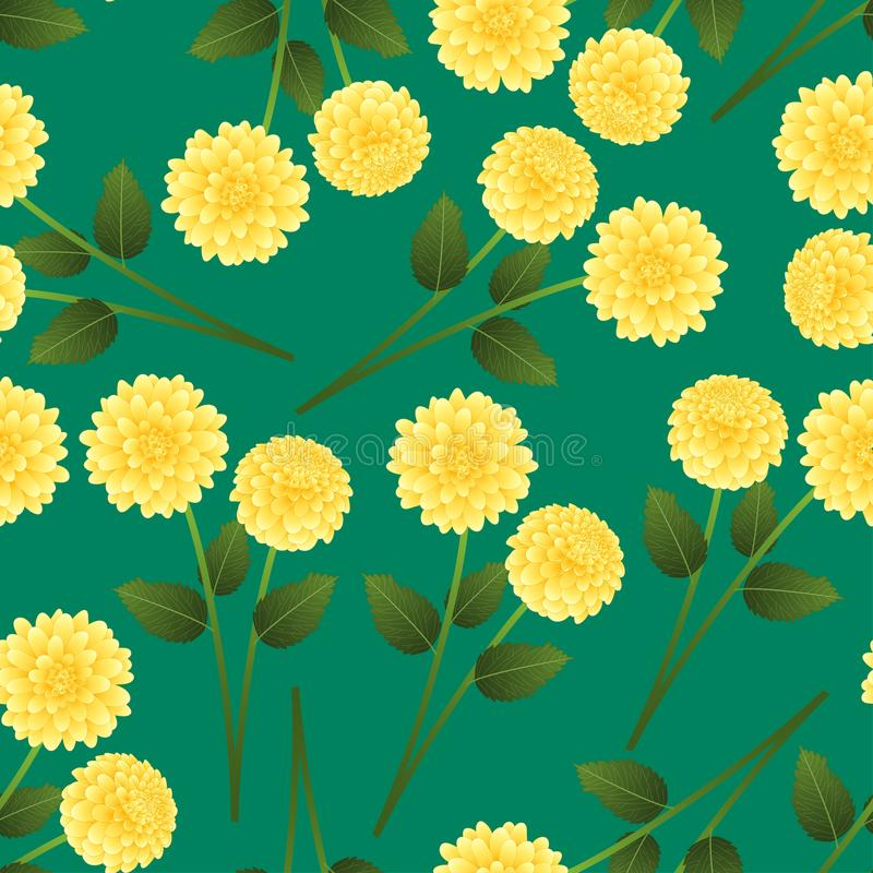 Yellow Dahlia on Green Background. Mexico`s national flower. Vector Illustration.  stock illustration