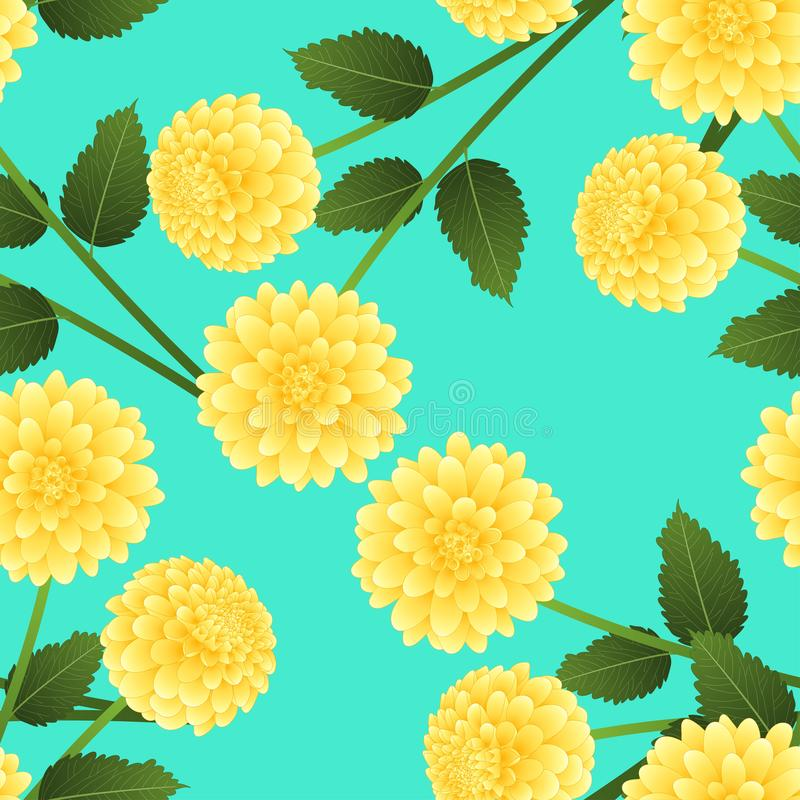 Yellow Dahlia on Green Mint Background. Mexico`s national flower. Vector Illustration.  stock illustration