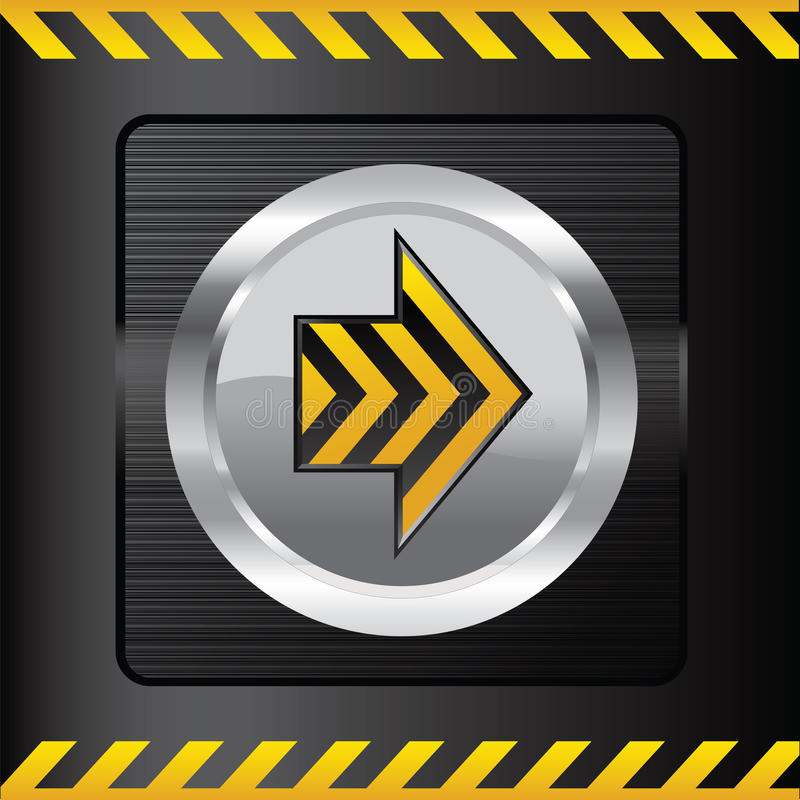 Yellow danger button on a steel background stock photography