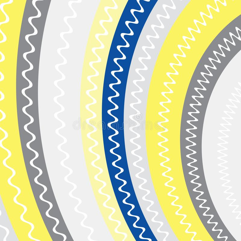 Yellow, dark blue, grey color stripes with white lines inside background. Abstract stripes background yellow, grey and blue color stock illustration