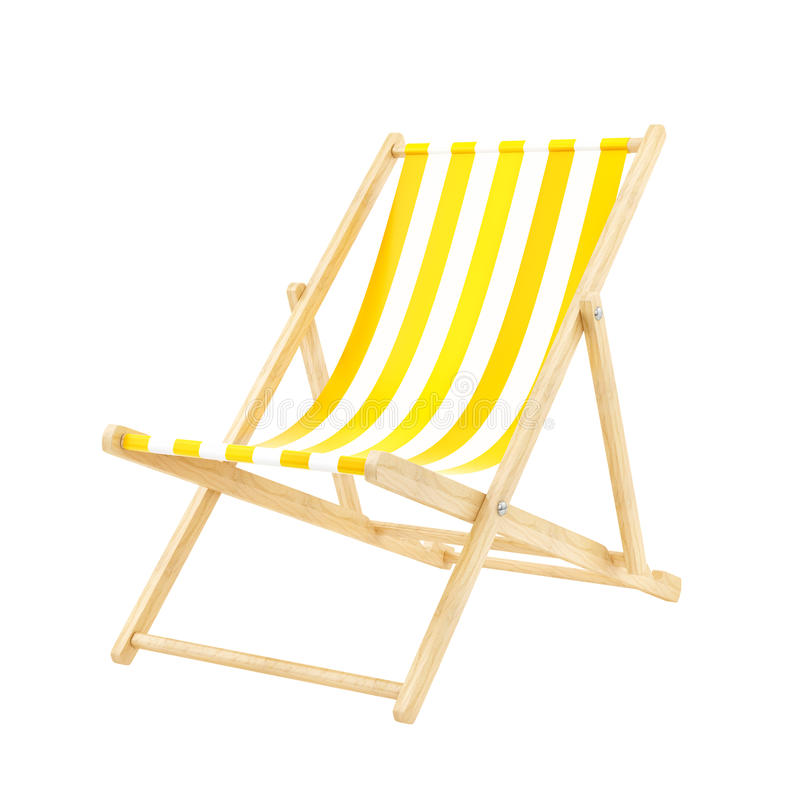 Yellow deck chair. Render of a deck chair, isolated on white stock illustration