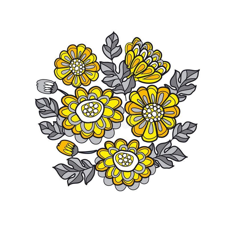 Yellow decorative stylized daisy floral fall pattern. stock illustration