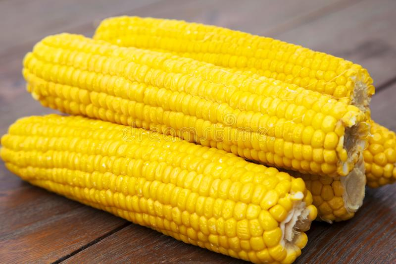 Yellow and delicious cobs on wooden table stock image