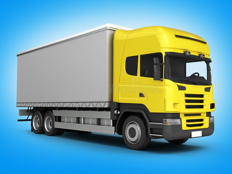 Yellow delivery truck on blue gradient background 3D vector illustration