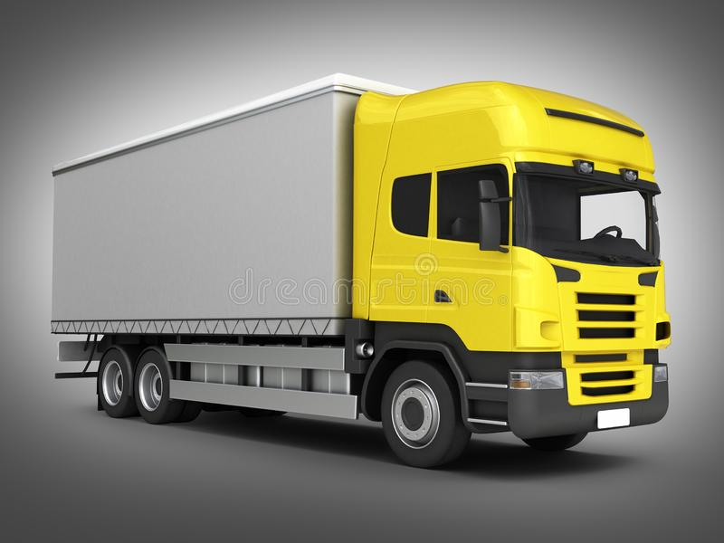 Yellow delivery truck on grey gradient background 3D stock illustration