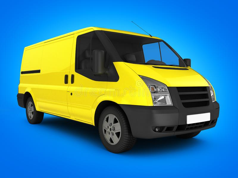 Yellow delivery van on  blue gradient background 3d royalty free illustration