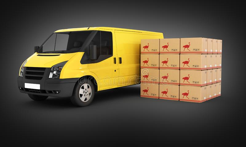 Yellow delivery van with cardboard boxes on black gradient background 3d. Yellow delivery van with cardboard boxes on black gradient background vector illustration
