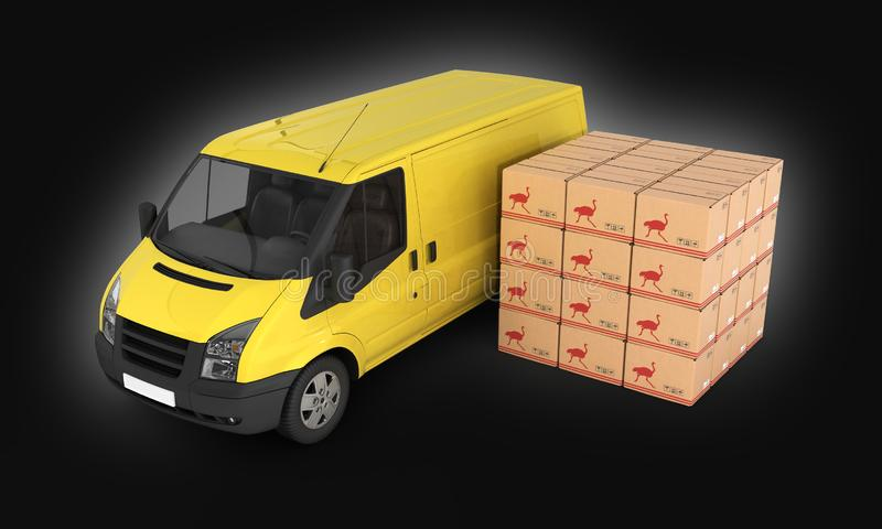 Yellow delivery van with cardboard boxes on black gradient background 3d. Yellow delivery van with cardboard boxes on black gradient background stock illustration