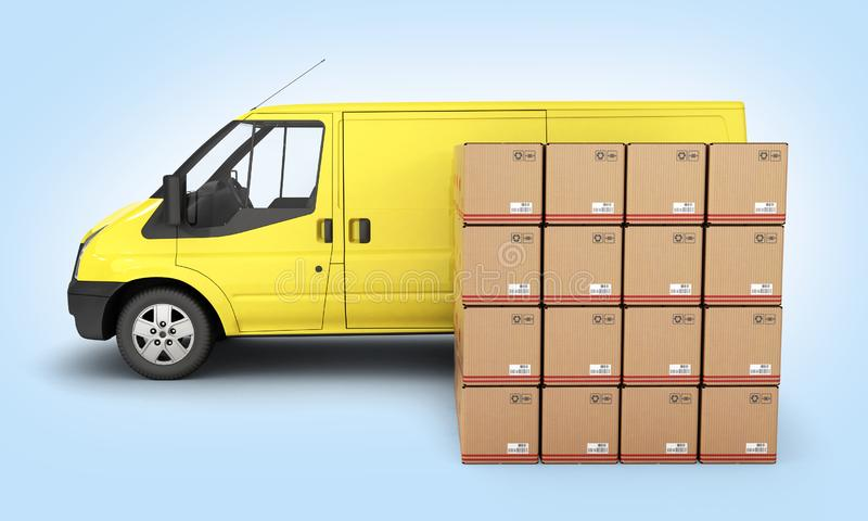 Yellow delivery van with cardboard boxes side view on blue gradient background 3d vector illustration