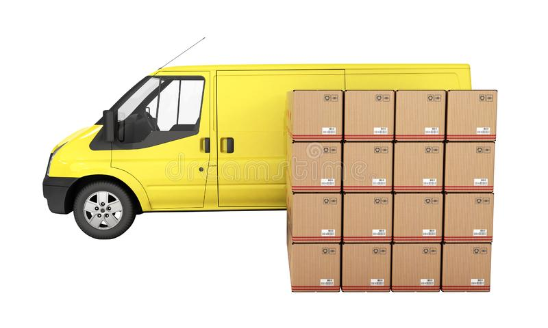 Yellow delivery van with cardboard boxes side view without shadow isolated on white background 3d vector illustration