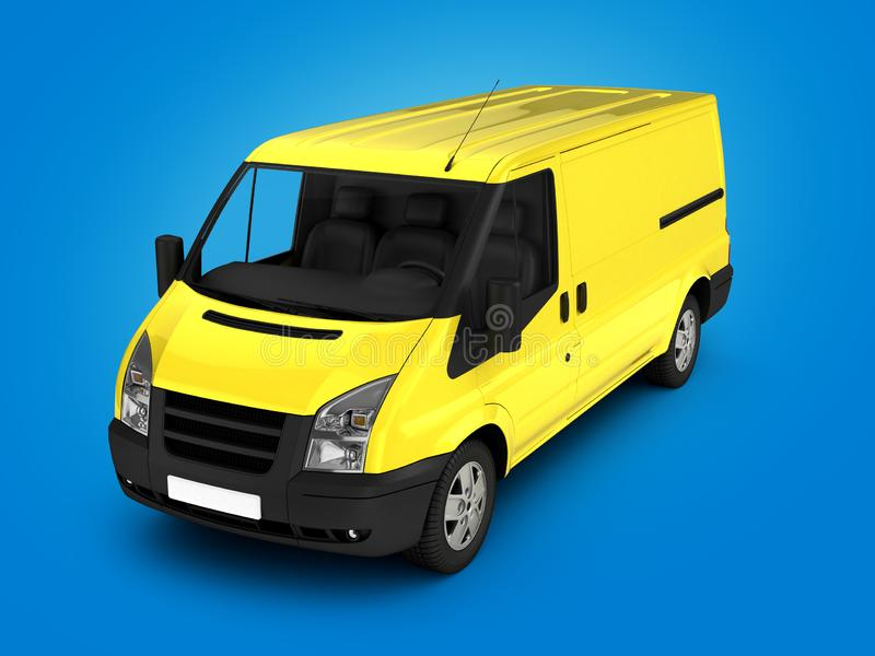 Yellow delivery van on gradient background 3d illustration royalty free illustration