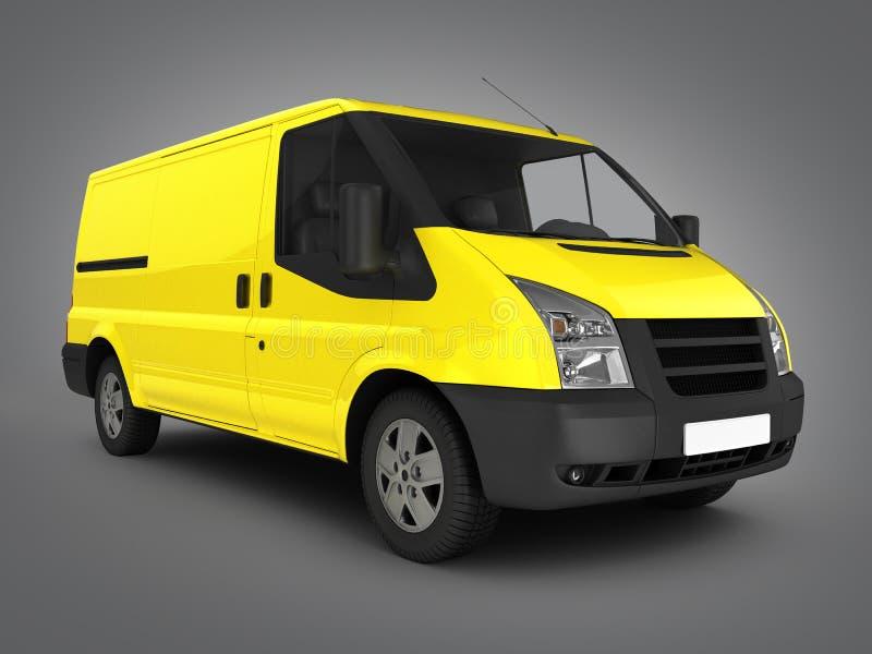 Yellow delivery van on grey gradient background 3d. Yellow delivery van on grey gradient background stock illustration