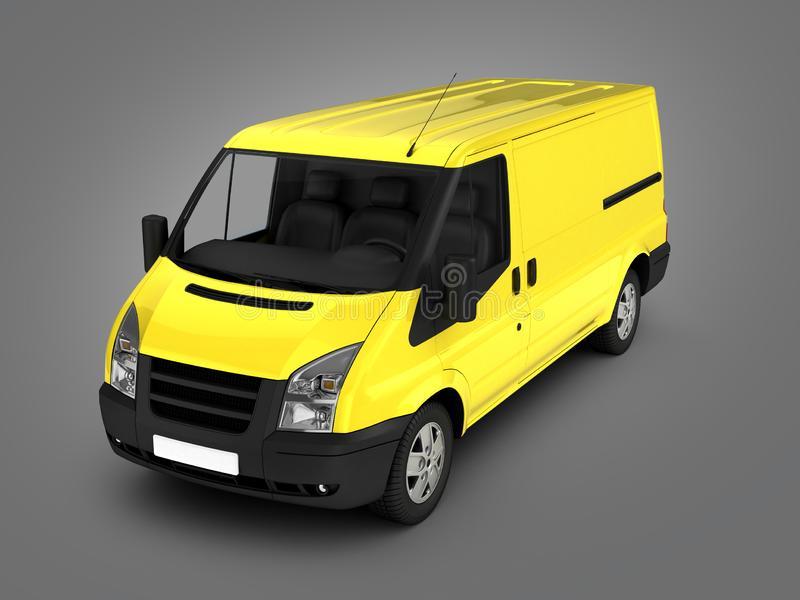 Yellow delivery van on grey gradient background 3d royalty free illustration