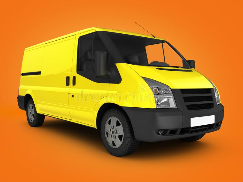 Yellow delivery van on orange gradient background 3d render. Yellow delivery van on orange gradient background 3d royalty free illustration