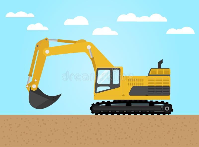 Yellow digger Flat Design Icon royalty free illustration