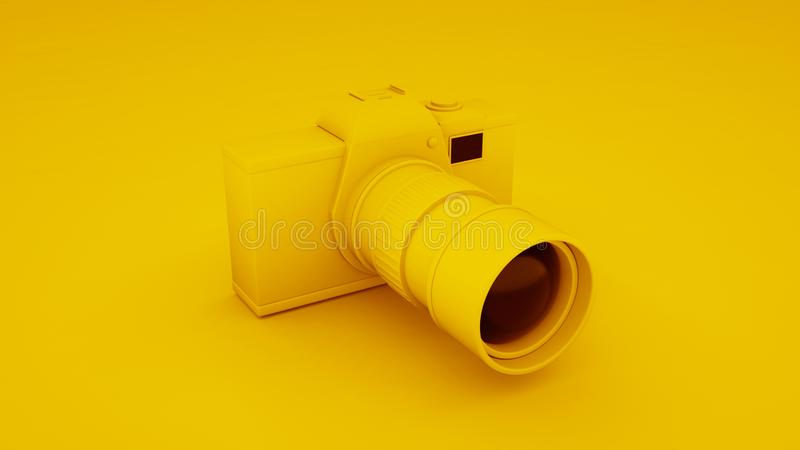 Yellow Digital DLSR Camera. 3D illustration.  stock illustration