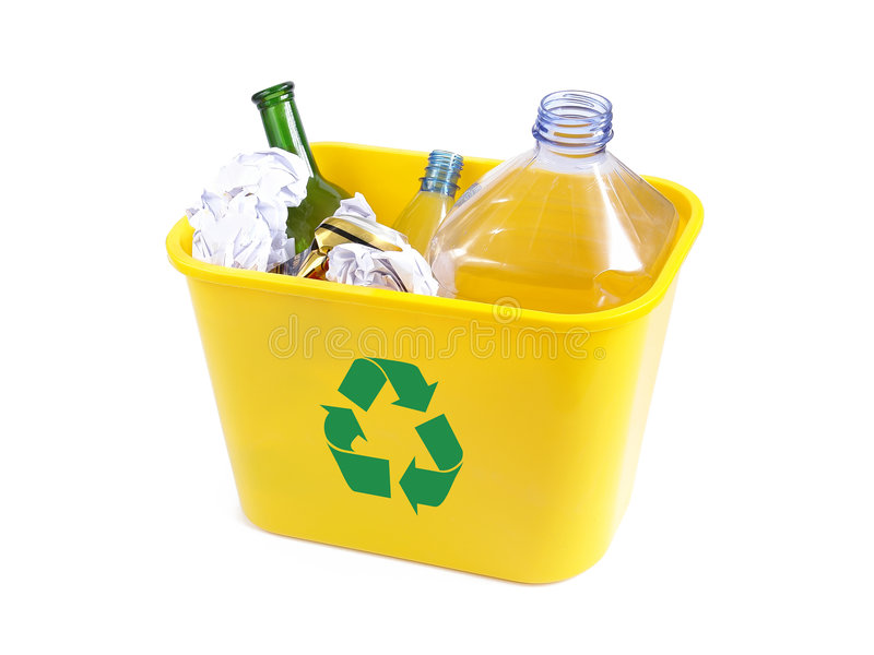 Yellow disposal bin royalty free stock photos