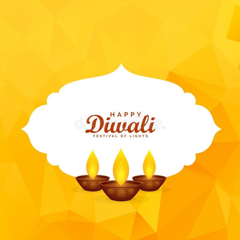 Yellow diwali festival greeting background with burning diya vector illustration