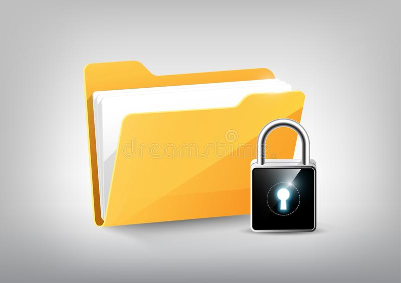 Yellow document file folder directory icon isolated and modern high technology padlock shield on white grey, transparent vector stock illustration