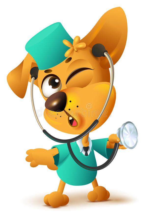 Yellow dog doctor vet keeps stethoscope. Isolated on white fun vector cartoon illustration royalty free illustration