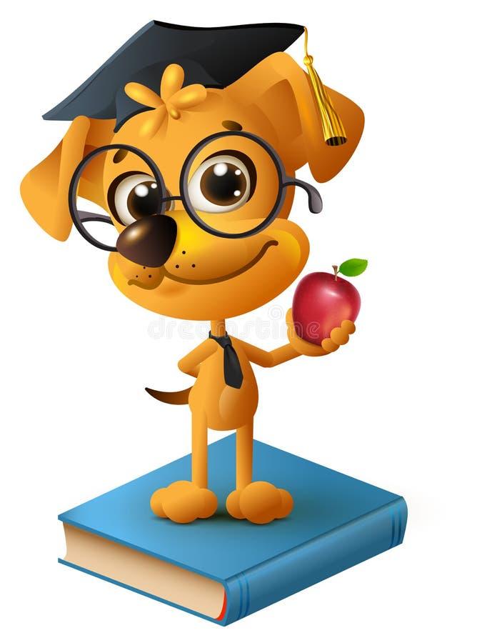 Yellow dog teacher holding red apple vector illustration