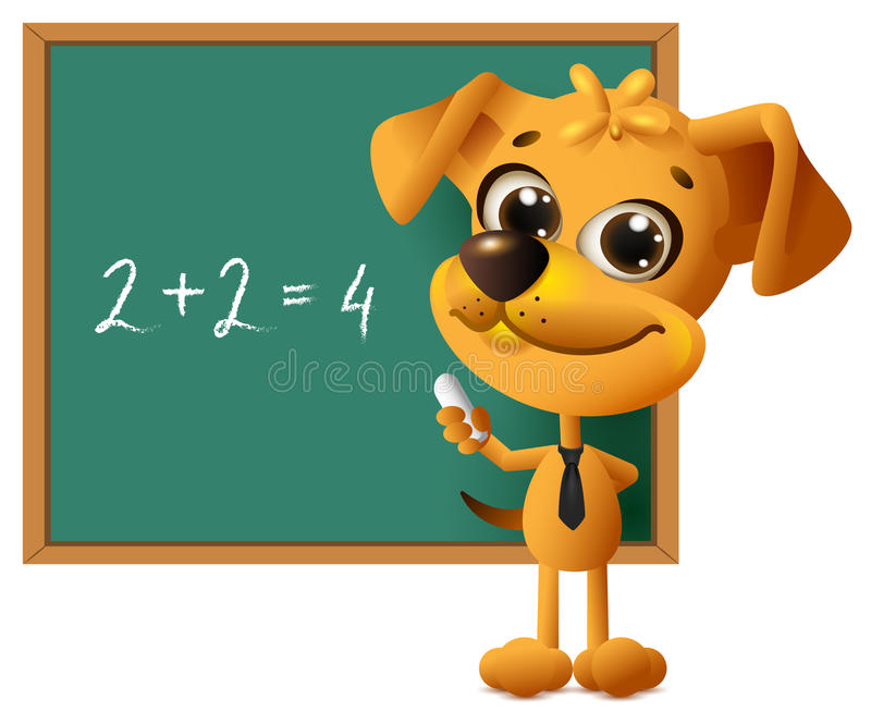 Yellow dog teacher stands at blackboard. Math lesson two plus two equals four vector illustration